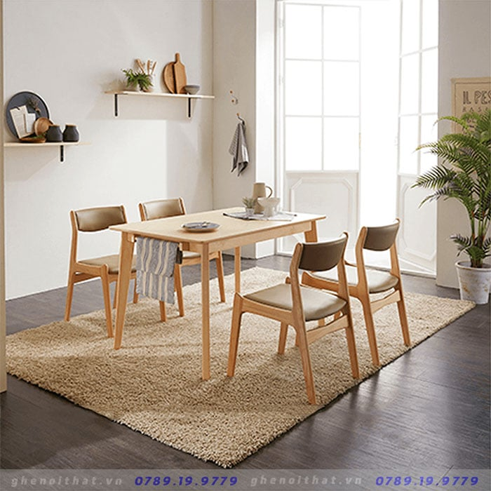 Bộ bàn ghế ăn Bella gỗ tự nhiên Sồi