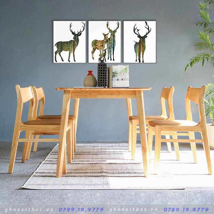 Bộ bàn ghế ăn Elip Santiano gỗ sồi