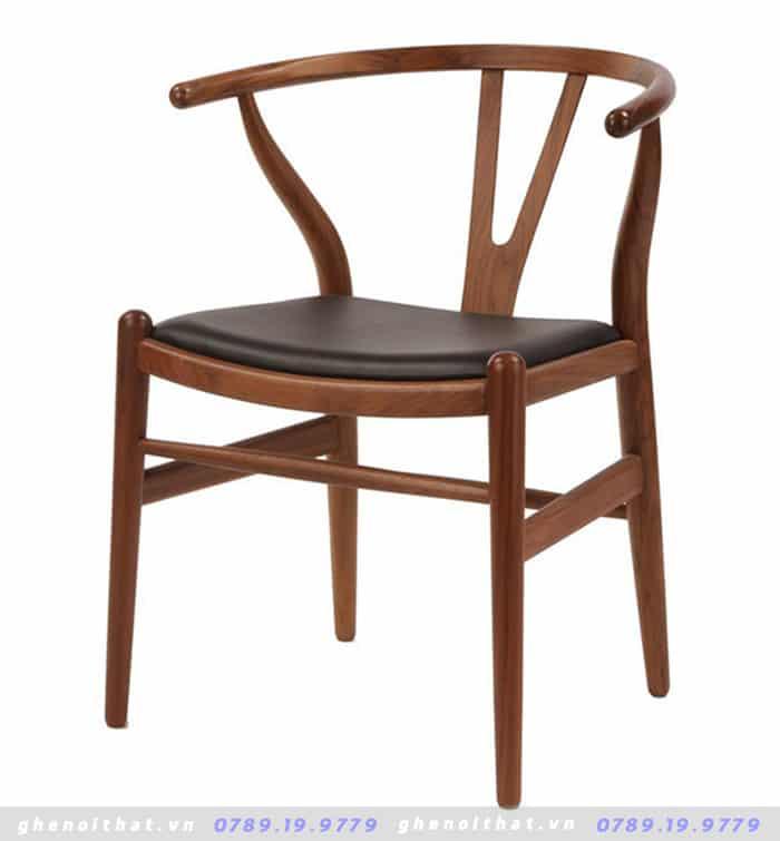 Ghế gỗ Wishbon mặt đệm