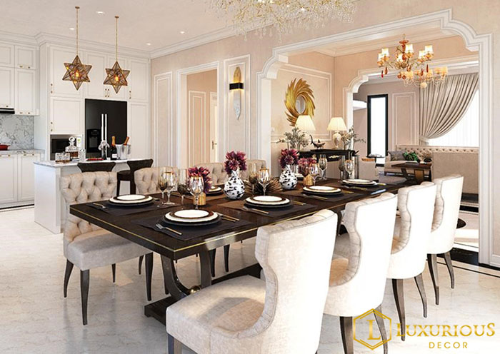 Mẫu bàn ăn 8 ghế đẹp sang trọng