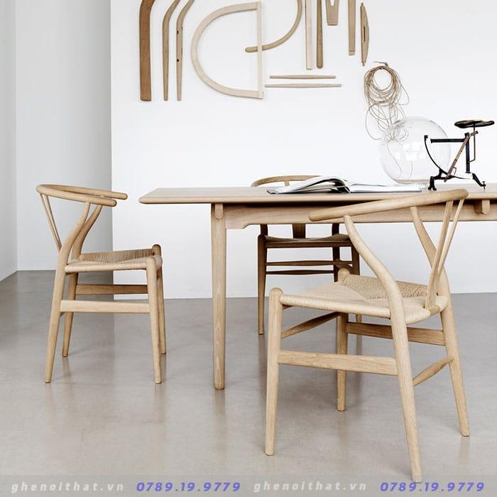 Mẫu bàn ghế Wishbon gỗ sồi đan dây
