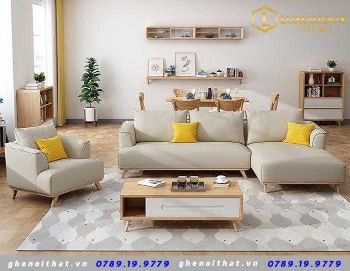 Mẫu sofa hiện đại bọc nỉ