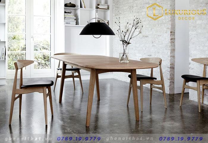 Bộ bàn ghế ăn gỗ tự nhiên Lunar