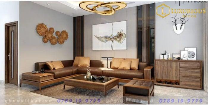 Bộ Sofa chữ L gỗ óc chó