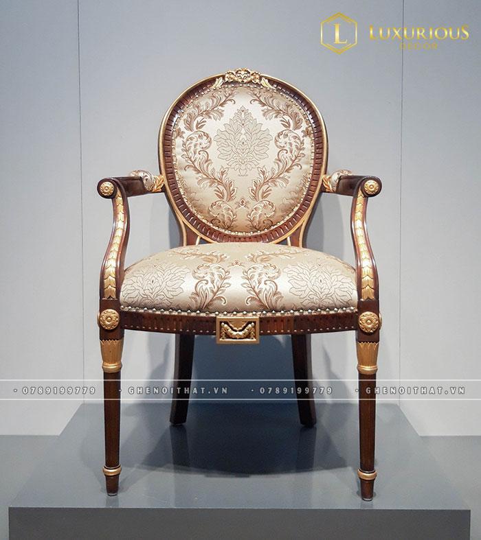 Mẫu ghế Louis 16 cao cấp bọc nỉ hoa văn
