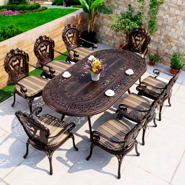 Bộ bàn nhôm đúc hình elip 8 ghế