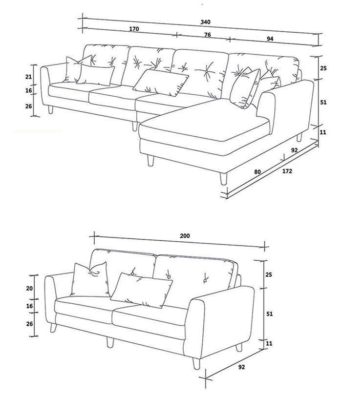 Kích Thước Của Ghế Sofa Dài Và Đôi