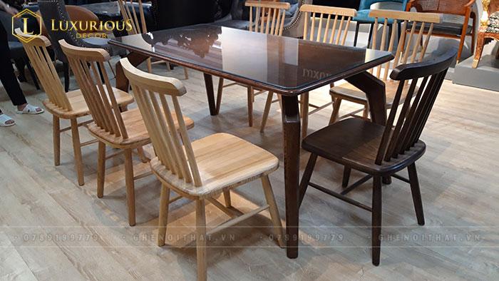 Mẫu ghế ăn gỗ 7 nan