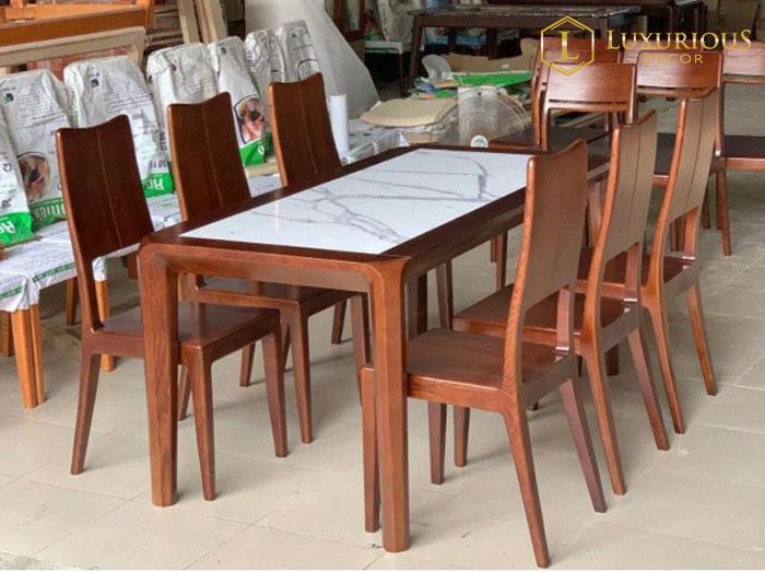 Bàn ăn chân gỗ mặt đá 6 ghế