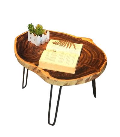 Bàn Cafe mặt gỗ me tây nguyên khối