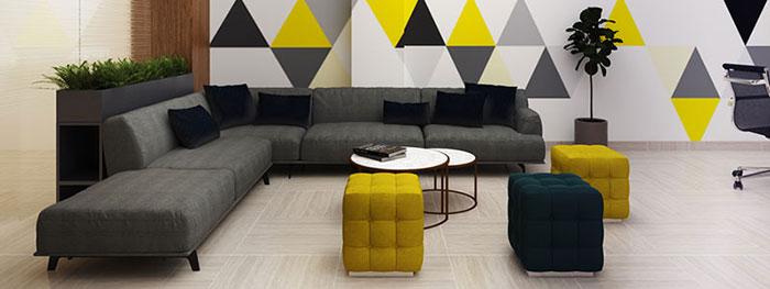 Bộ Sofa Dài Trong Phòng Làm Việc