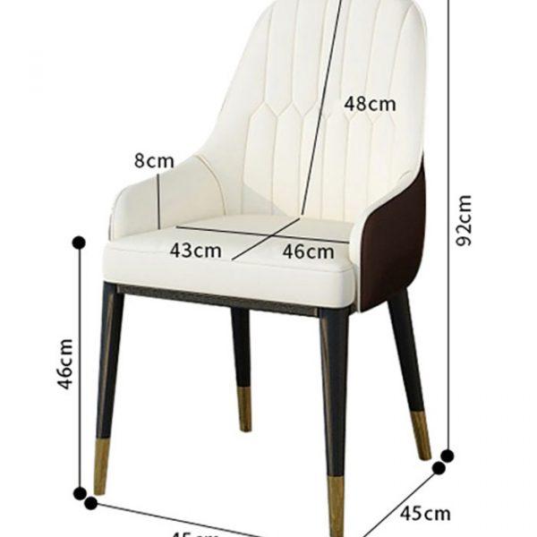 Kích thước ghế ăn chân sắt bọc da Monet