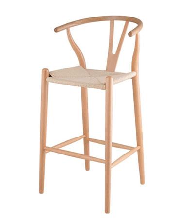 Mẫu ghế bar chân gỗ Wishbon đan dây