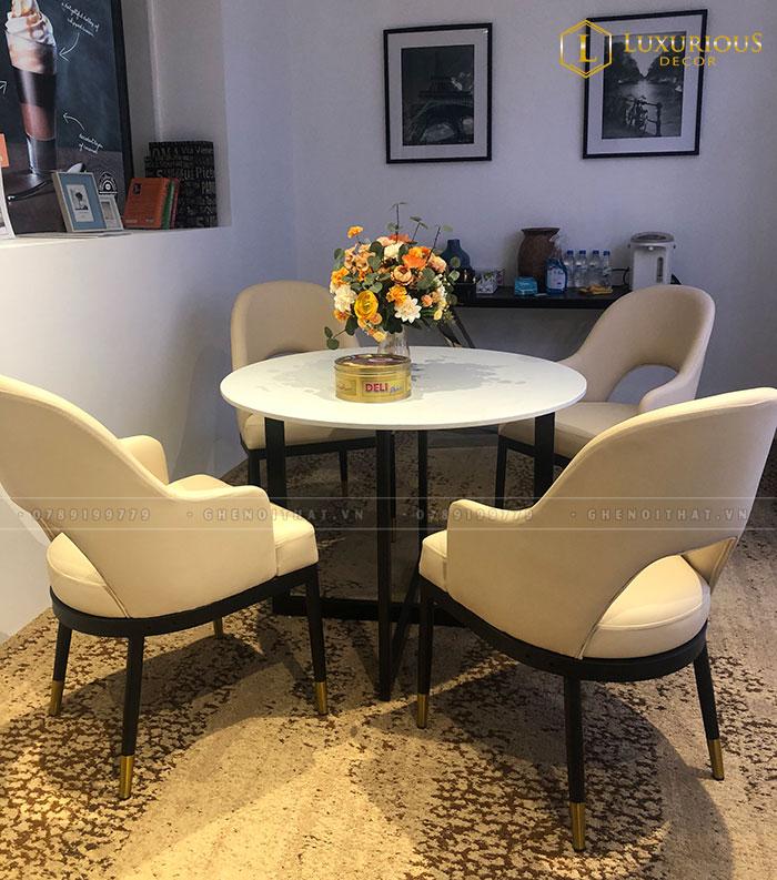 Bộ bàn ghế chân sắt tròn mặt đá