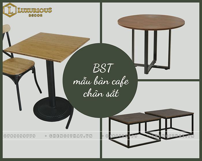 BST Mẫu Bàn Cafe Chân Sắt
