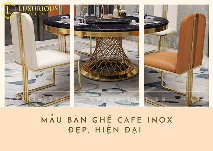 Mẫu Bàn Ghế Cafe Inox Đẹp